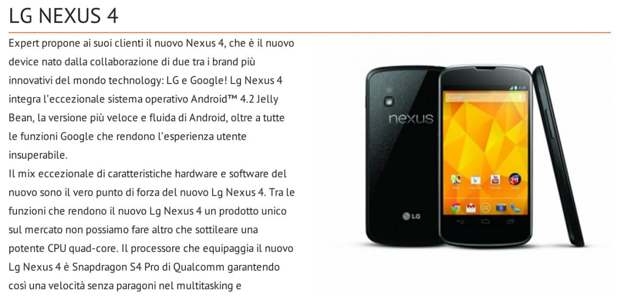 LG Nexus 4 sul sito Expert