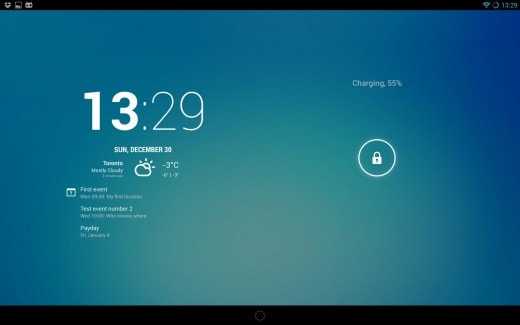 lock clock tablet 520x325 Le ultime di CM 10.1: Lock Clock su tablet, pattern di sblocco, aggiornamenti di Trebuchet e nightly per Galaxy Tab 10.1
