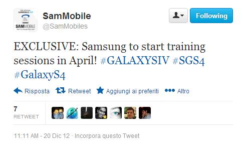 training session galaxy s iv