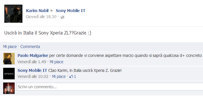 sony facebook zl