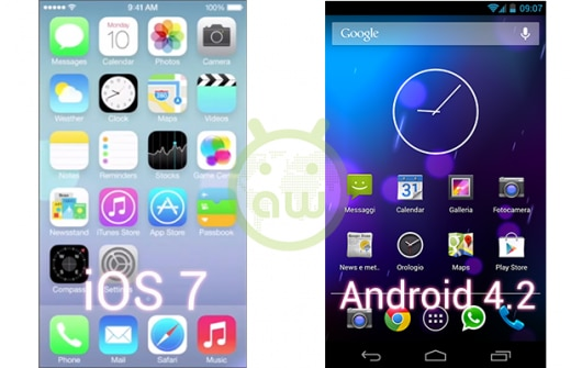 iOS 7 vs Android 4.2: Homescreen