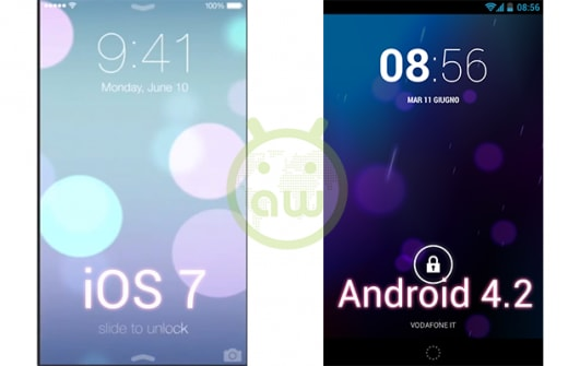iOS 7 vs Android 4.2: lockscreen