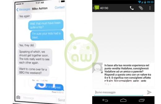 iOS 7 vs Android 4.2: Messaggi