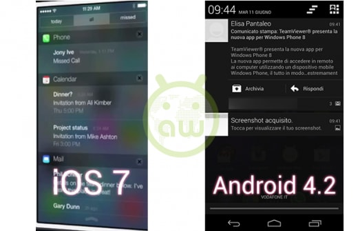 iOS 7 vs Android 4.2: Notifiche