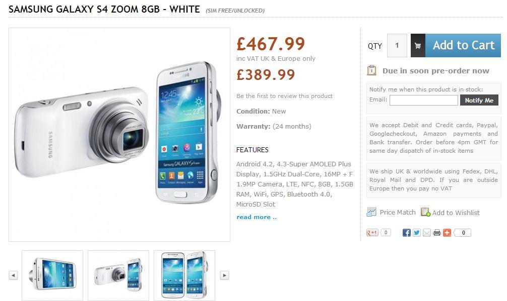 s4 zoom prezzo