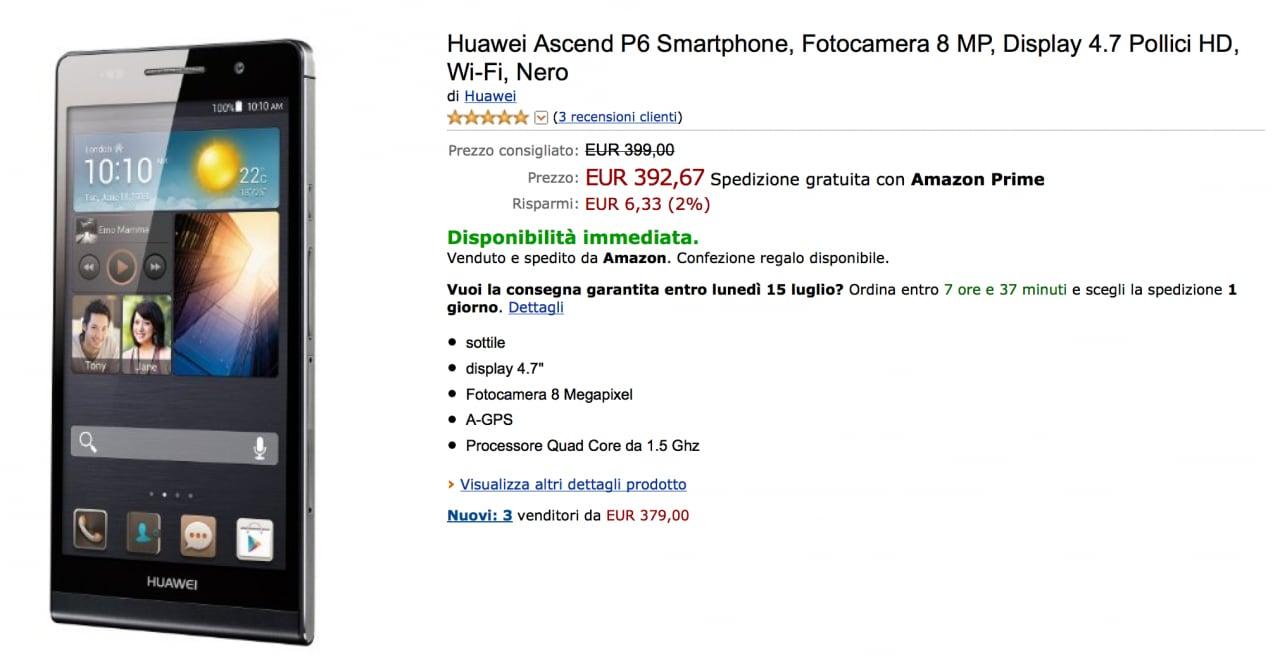 Huawei Ascend P6 su Amazon