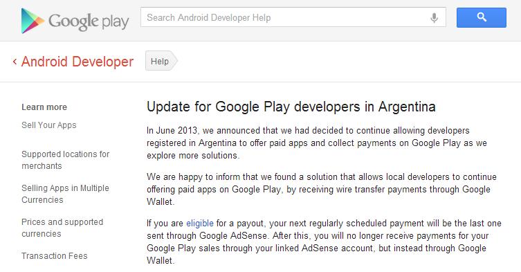 Soluzione Google Play-Argentina