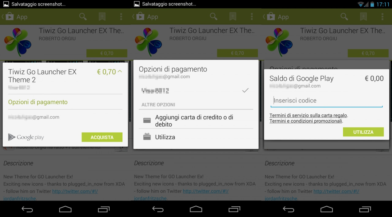carte regalo play store ita