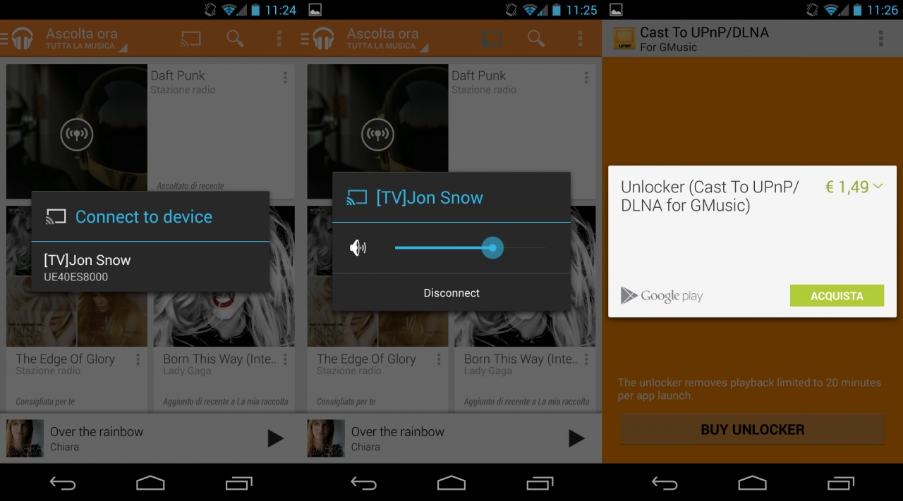 cast google music dlna