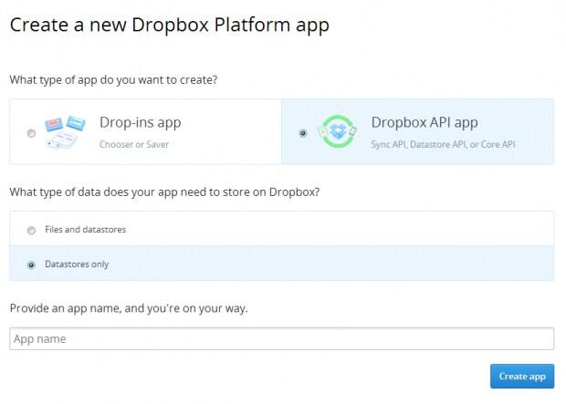 Dropbox-Datastore-appCreate