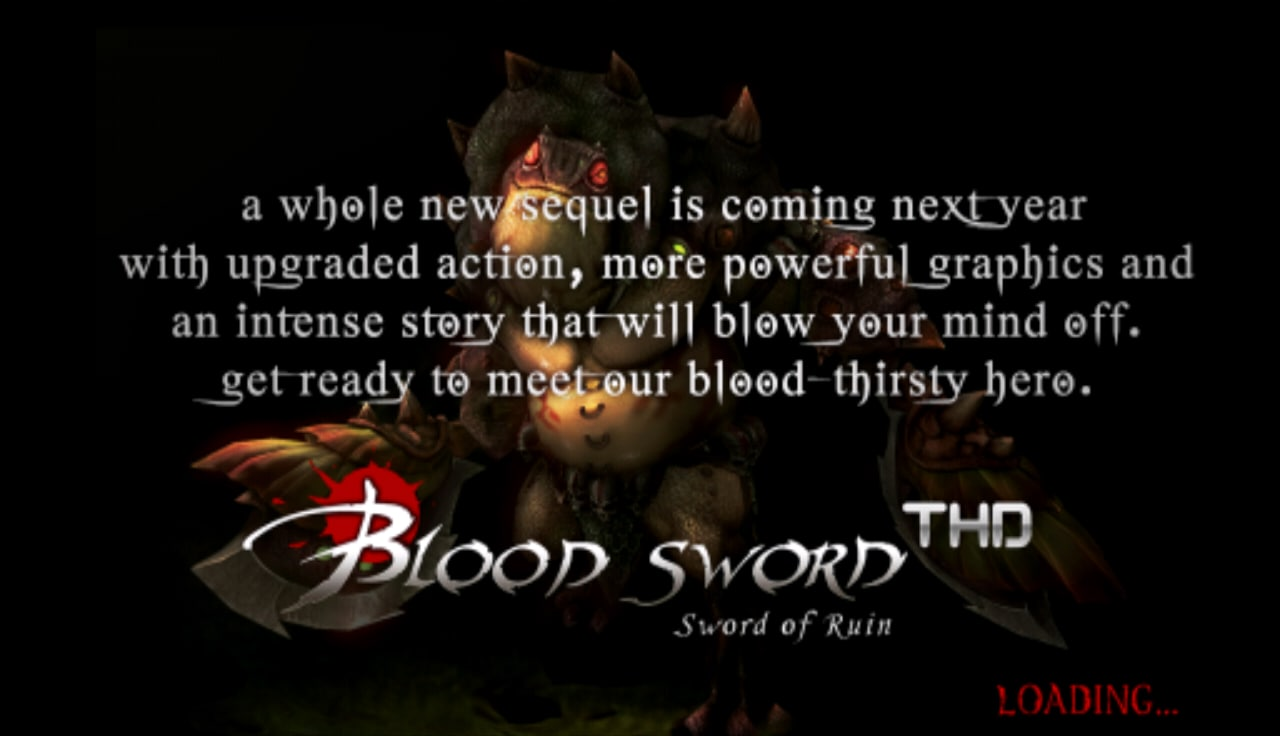 Il loading screen di Blood Sword THD.