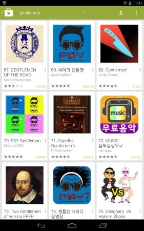 Gentlemen si piazza ad un misero 69° posto, circondato da app di Psy.