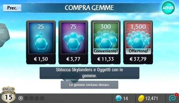 Acquisti in-app. Inoltre, è possibile scambiare gemme per monete.