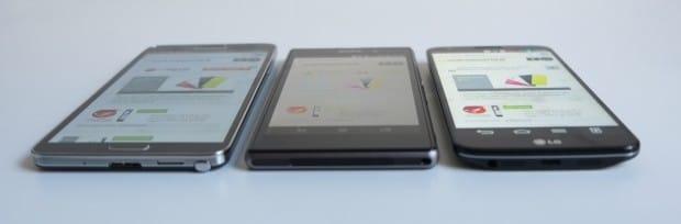 Luminosità automatica max. livello - Note 3 vs Xperia Z1 vs G2