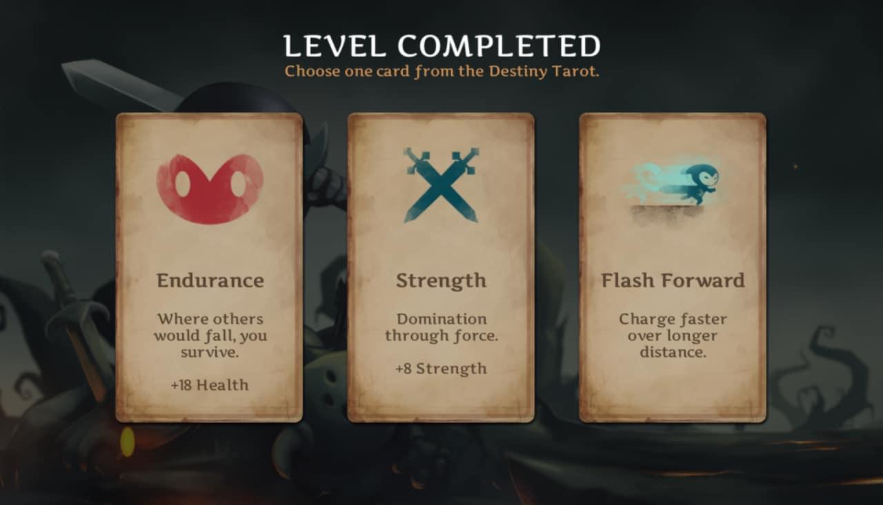 Personalizzare le capacità del protagonista è molto semplice: basta scegliere ad ogni level up una di queste tre carte.
