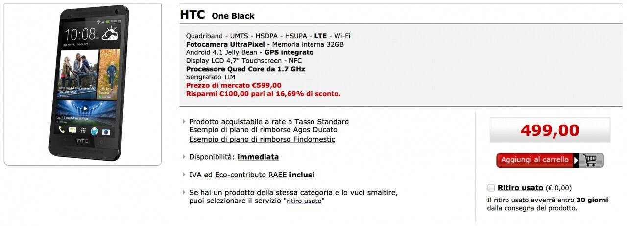 Offerta HTC One MediaWorld
