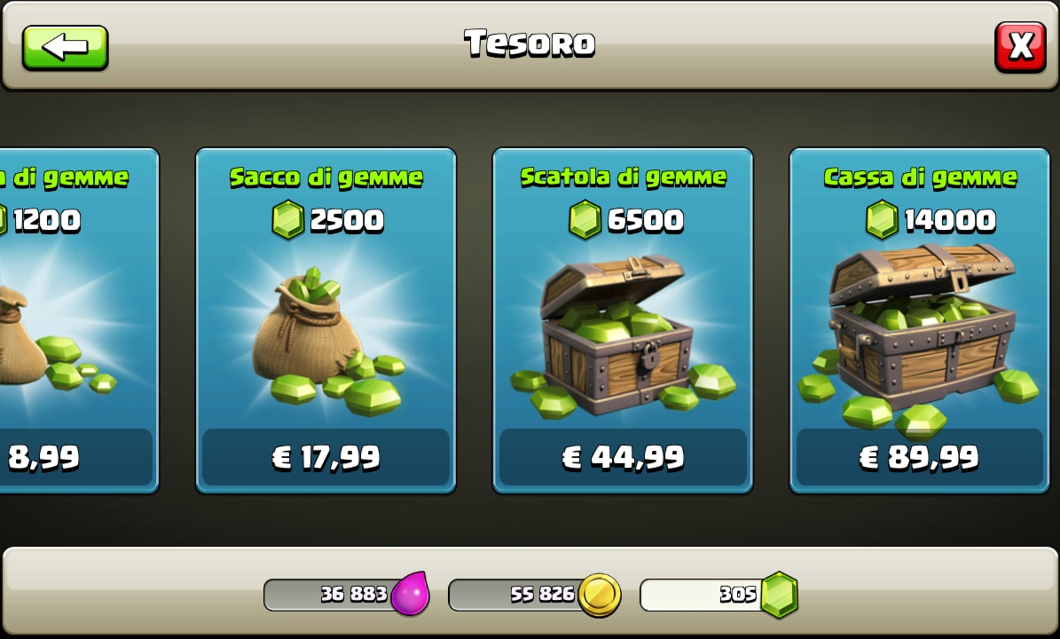 Acquisti in-app di Clash of Clans.