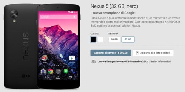 nexus 5 italia