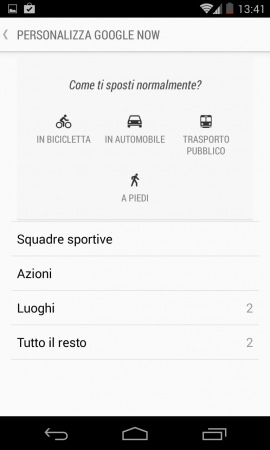 Android 4.4 personalizza google now
