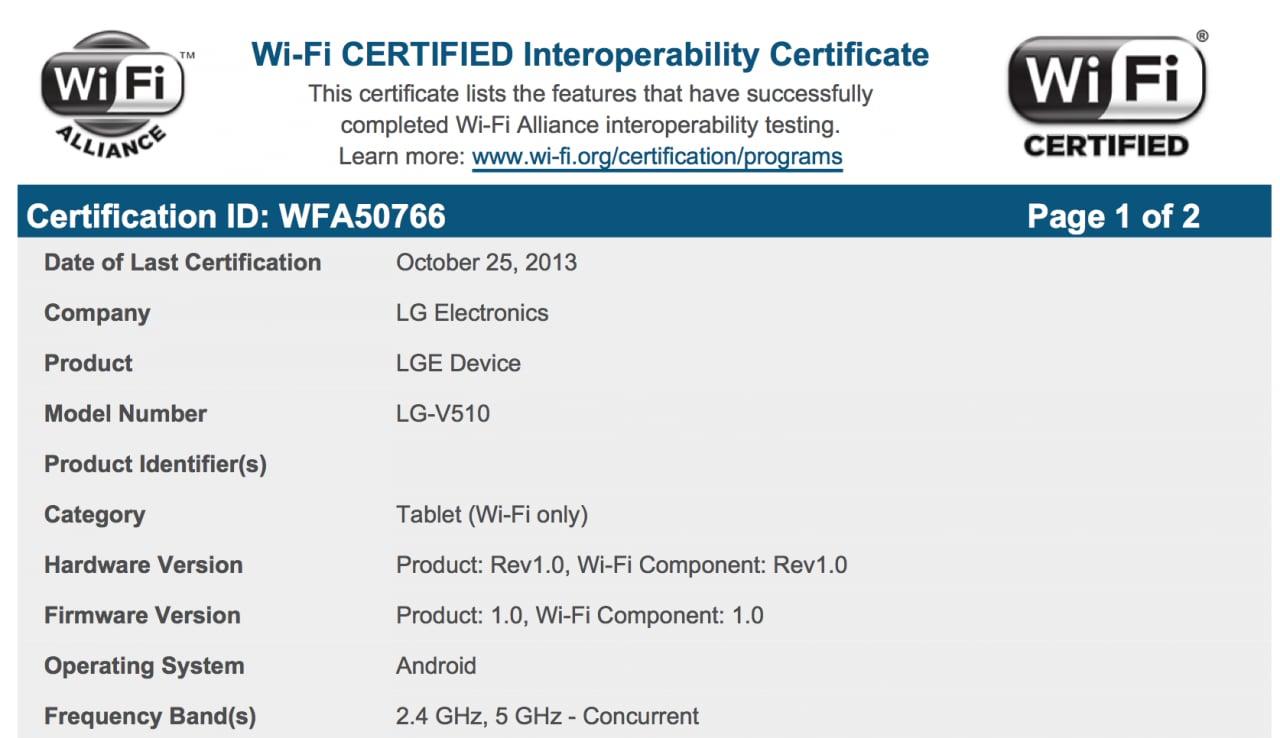 Certificazione Wi-Fi Nexus 10
