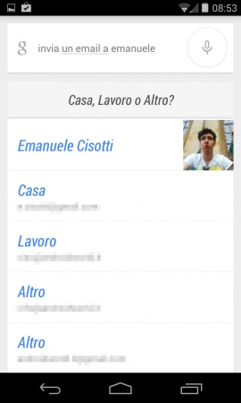 google now email scelta