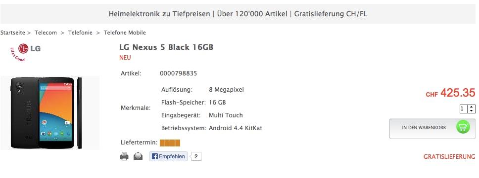 nexus 5 svizzera