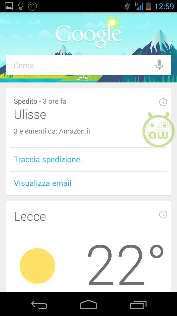 tracciamento amazon google now
