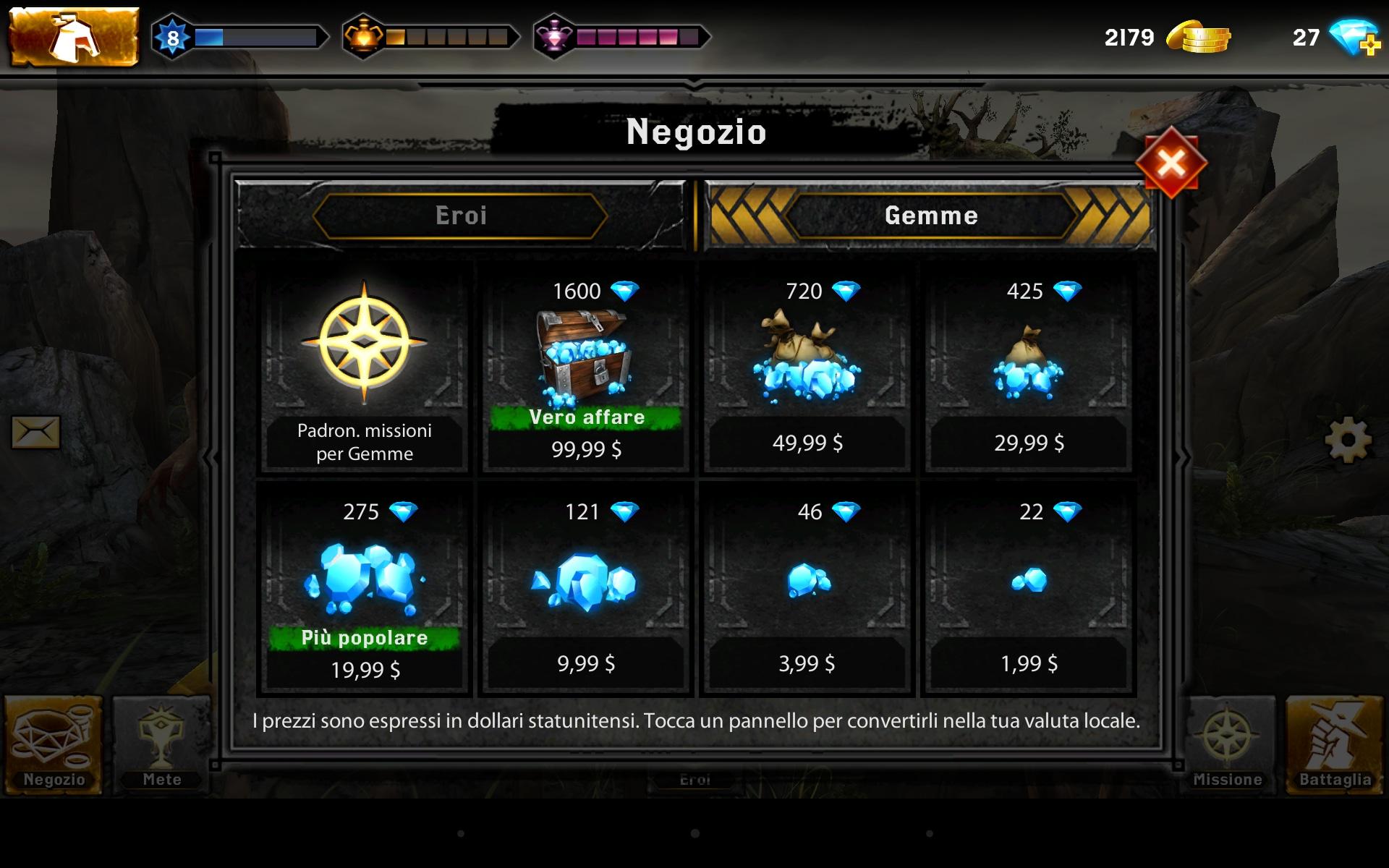 Acquisti in-app di Heroes of Dragon Age.