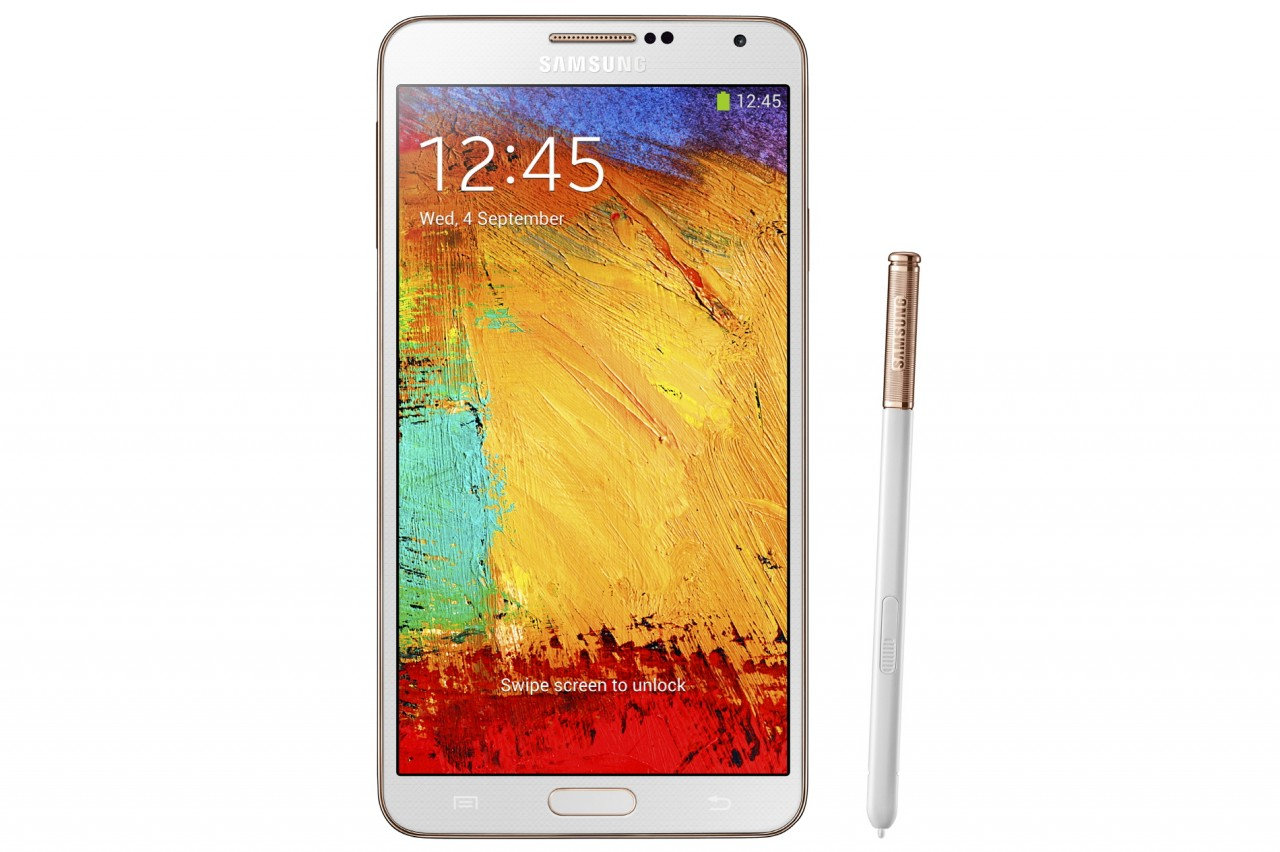galaxy note 3 rose gold white front