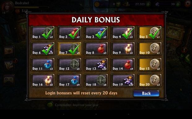 Bonus giornalieri per il log-in: un metodo tipico dei free to play per aumentare la longevità offrendo ricompense al giocatore per ogni log-in.