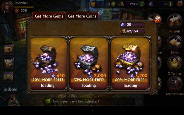 Acquisti in-app di Eternity Warriors 3. Si parte da un minimo di 5€, fino ad arrivare a cifre vicine ai 100€.