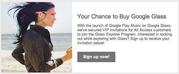 Invito Google Glass per utenti Google Play Music Access