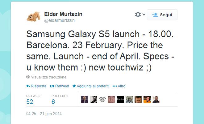 Lancio Samsung Galaxy S5
