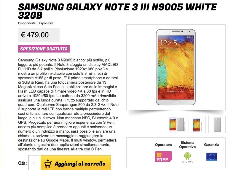 Samsung Galaxy Note 3 garanzia Europa a 479€