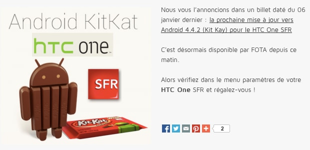 HTC One kitkat francia