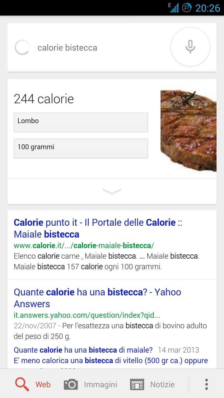 Google Now ci dice ora i valori nutrizionali degli alimenti