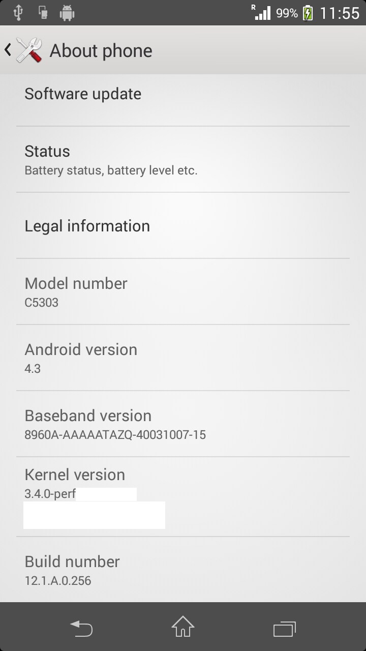 xperia sp android 4.3