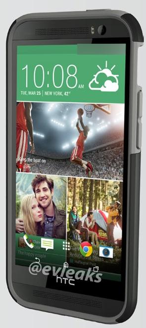 HTC One 2 si mostra in una immagine frontale con custodia