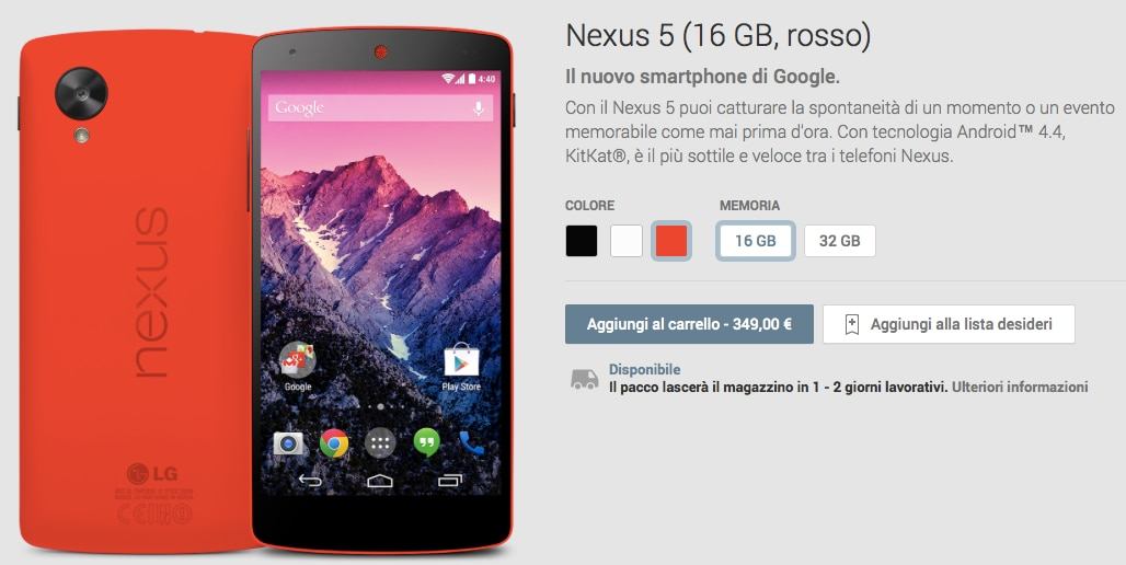 Nexus 5 rosso google play