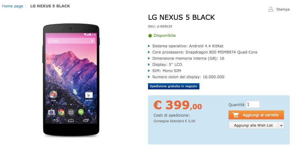 LG Nexus 5: Saturn lo propone a 399€