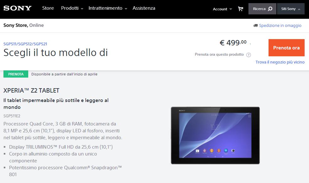 Sony Xperia Z2 Tablet prezzo