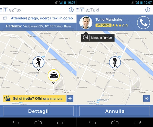 Con ezTaxi prenoti e paghi il taxi dal tuo smartphone