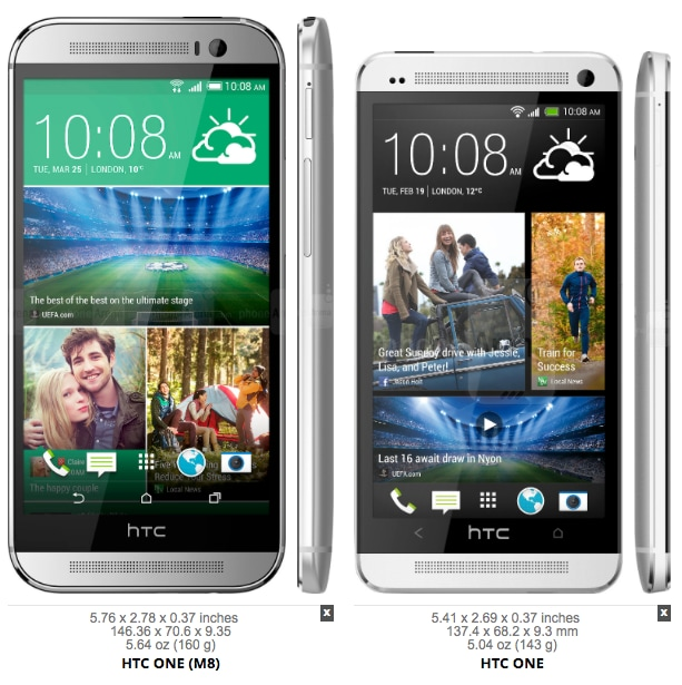 HTC One (M8) side by side 2