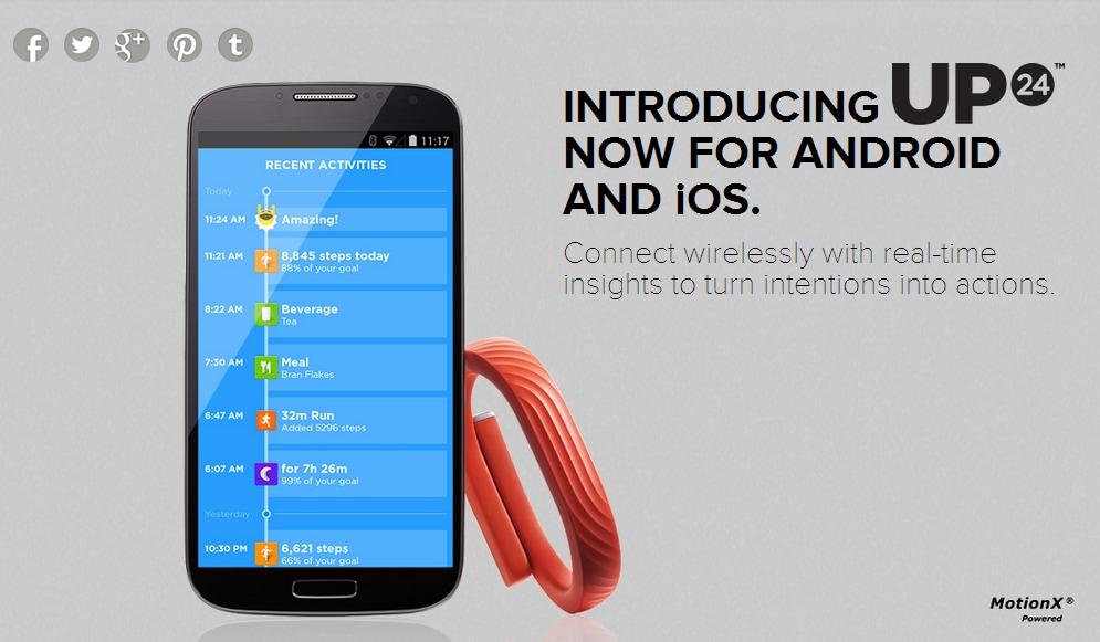 Jawbone aggiorna la propria app e supporta ora UP24