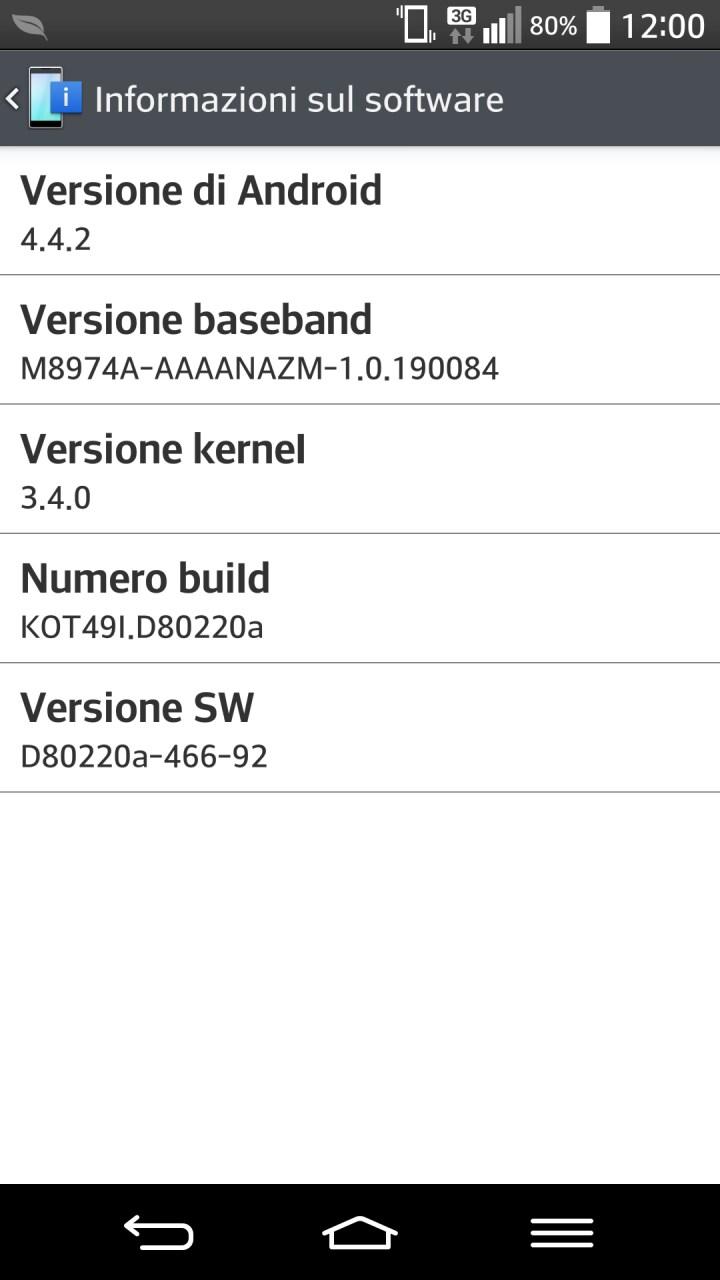 LG G2 no brand si aggiorna ad Android 4.4.2 KitKat (foto)