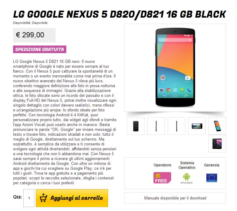 LG Nexus 5 nero 16 GB a 299€ su Gli Stockisti