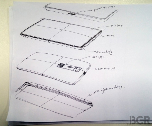 OnePlus One: un disegno mostra quello che potrebbe essere il design