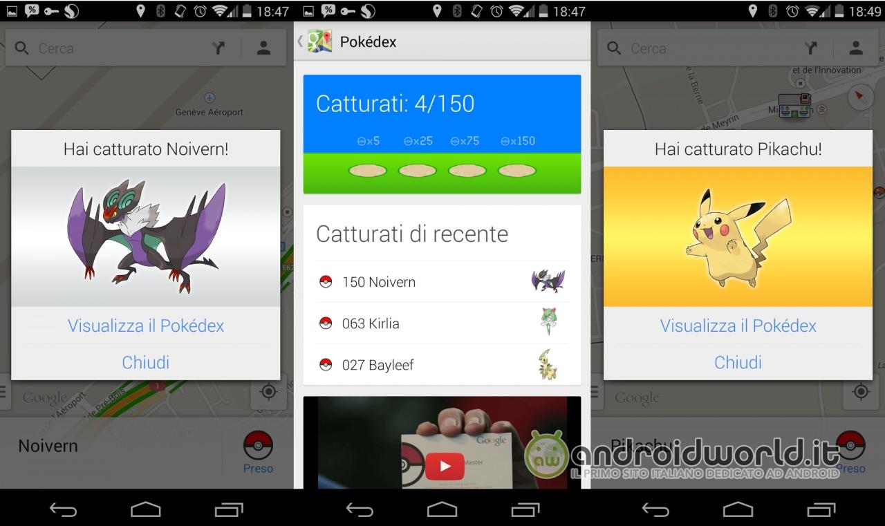 Google inizia in anticipo gli scherzi per il primo aprile: tutti i 150 Pokémon da catturare all'interno di Maps (foto e video)