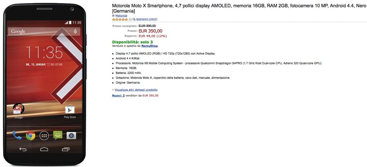 Motorola Moto X a 350€ su Amazon.it