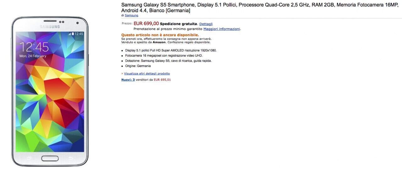 Galaxy S5 in pre-ordine a 699€ su Amazon.it (importato dalla Germania)
